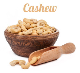 cashew nuts in bowl with scoop isolated
