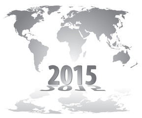 World map countries gray gradient 2015