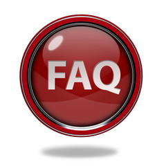faq circular icon on white background