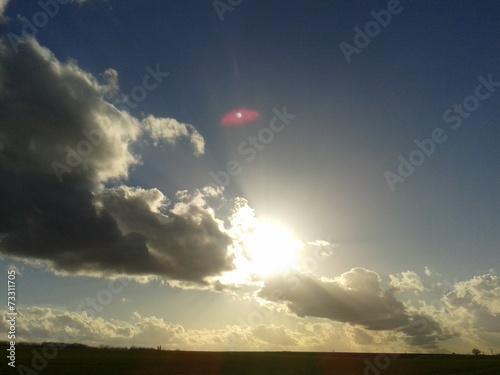 canvas print picture Wolken im Feld