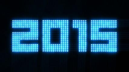 year 2015 array of flickering lights - 30fps loop