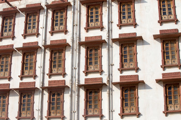 Indian windows of the building in Pushkar, Rajasthan, India