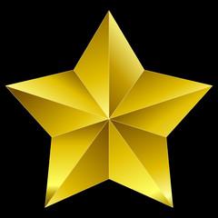 Christmas Star golden isolated on black