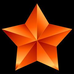 Christmas Star red orange isolated on black