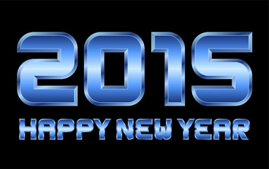 happy new year 2015 - rectangular beveled blue metal letters