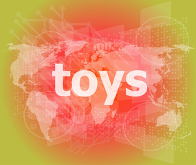 Marketing concept: words toys marketing on digital screen