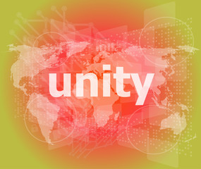 unity text on digital touch screen - business concept