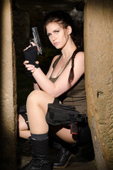 Armed Lara Croft in Action