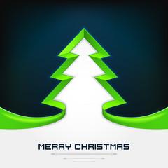 green christmas tree stripe shape modern design on dark blue