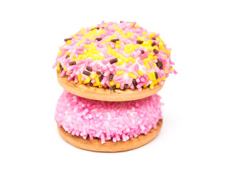 Marshmallow Cookies With Colorful Sugar Sprinkles Isolated
