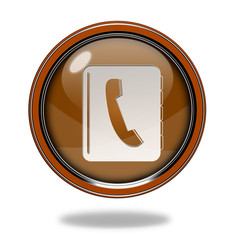 phonebook circular icon on white background