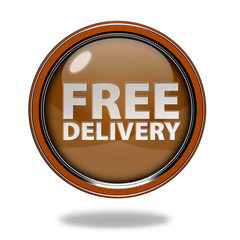 Free delivery circular icon on white background