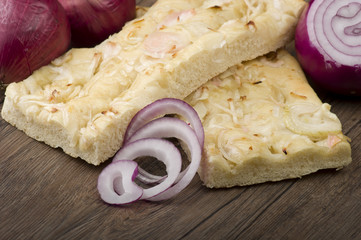 focaccia with onions rings Italian bread appetizer