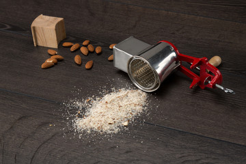 Side view of a almond grinder
