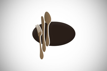 spoon fork restaurant food design logo