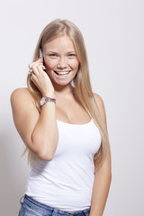 Beautiful Young Teenager Woman hold smartphone phone with smile