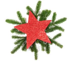 Tannenzweige mit Weihnachtsstern