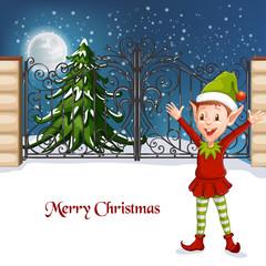 Happy Smiling Boy Christmas Santa's Elf