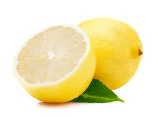 Ripe lemon with leaf.
