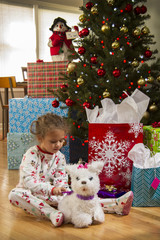 Young girl playing with toy dog in front of Christmas tree.