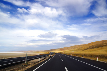 Landscape with asphalt road.