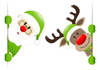 Green Rudolph & Santa Inside Banner