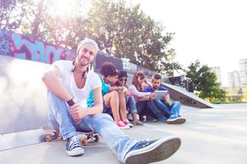 Smiling guy in the skate park