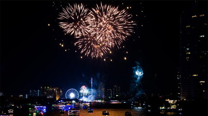 Fireworks in New Year at Bangkok Thailand.