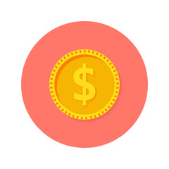 Gold Dollar Coin Money Circle Flat Icon