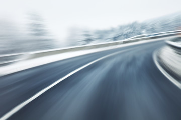 Artistic blurry fast winter driving