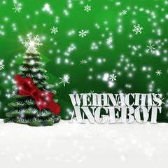 greeting card christmas tree  snow green