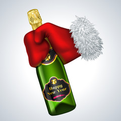 New year vector icon. Santa's hand holding a bottle of champagne