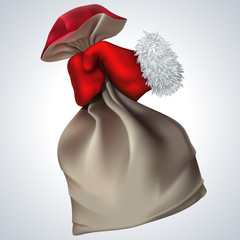New year vector icon. Santa's hand holding the bag with gifts.