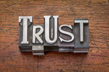 trust word in metal type