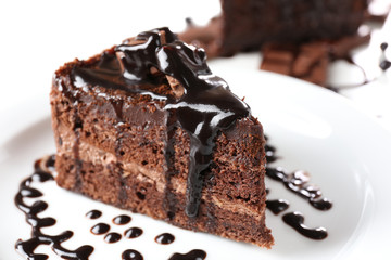 Yummy chocolate cake, close-up
