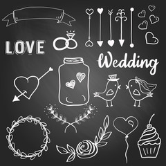 Cute wedding elements on the blacboard