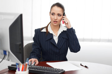 Young brunette accountant calling in office