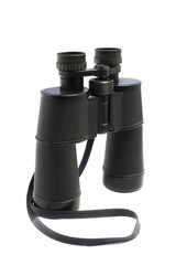 old style worn binocular isolated over white