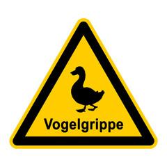 wso91 WarnSchildOrange - Symbol Schild - Vogelgrippe Ente g2552