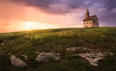 Old Roman Church at Sunset in Drazovce, Slovakia