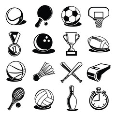 Vector Sport Equipment and Balls Black Icons Set