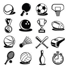 Vector Sport Equipment and Balls Black Icons Set