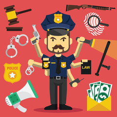 Vector tough policeman with lot of hands