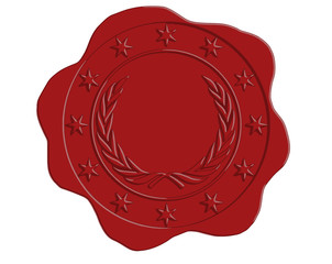 Vector Red Wax Seal with Star and Laurel Border