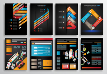 Set of Infographics,  Flyer and Brochure Designs,