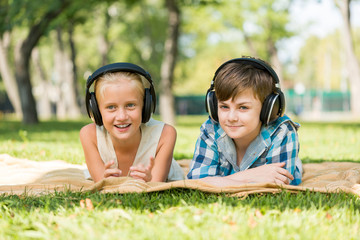 Kids wearing headphones