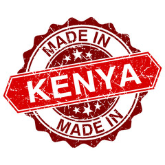 made in Kenya red stamp isolated on white background