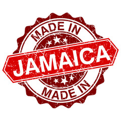 made in Jamaica red stamp isolated on white background