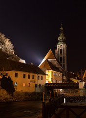 Night view of the city of Cesky Krumlov