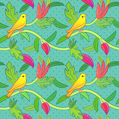 Nature seamless pattern with birds and leafs